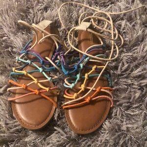 Mossimo multi colored strap up sandal.